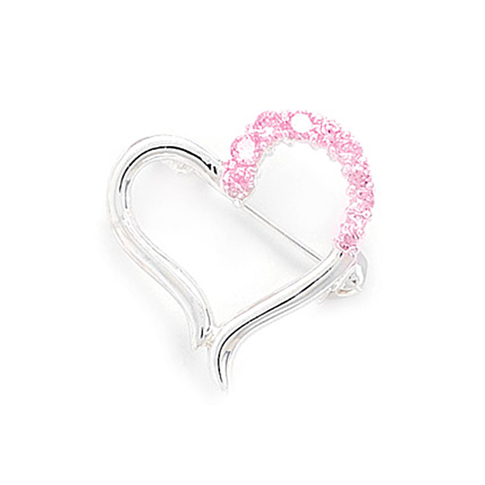 West Coast Jewelry Cut Out Heart Design Fashion Pin with Pink CZs at Sears.com