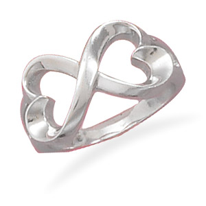 West Coast Jewelry Rhodium Plated Sterling Silver Double Heart Overlap Design Ring - Size 5 at Sears.com
