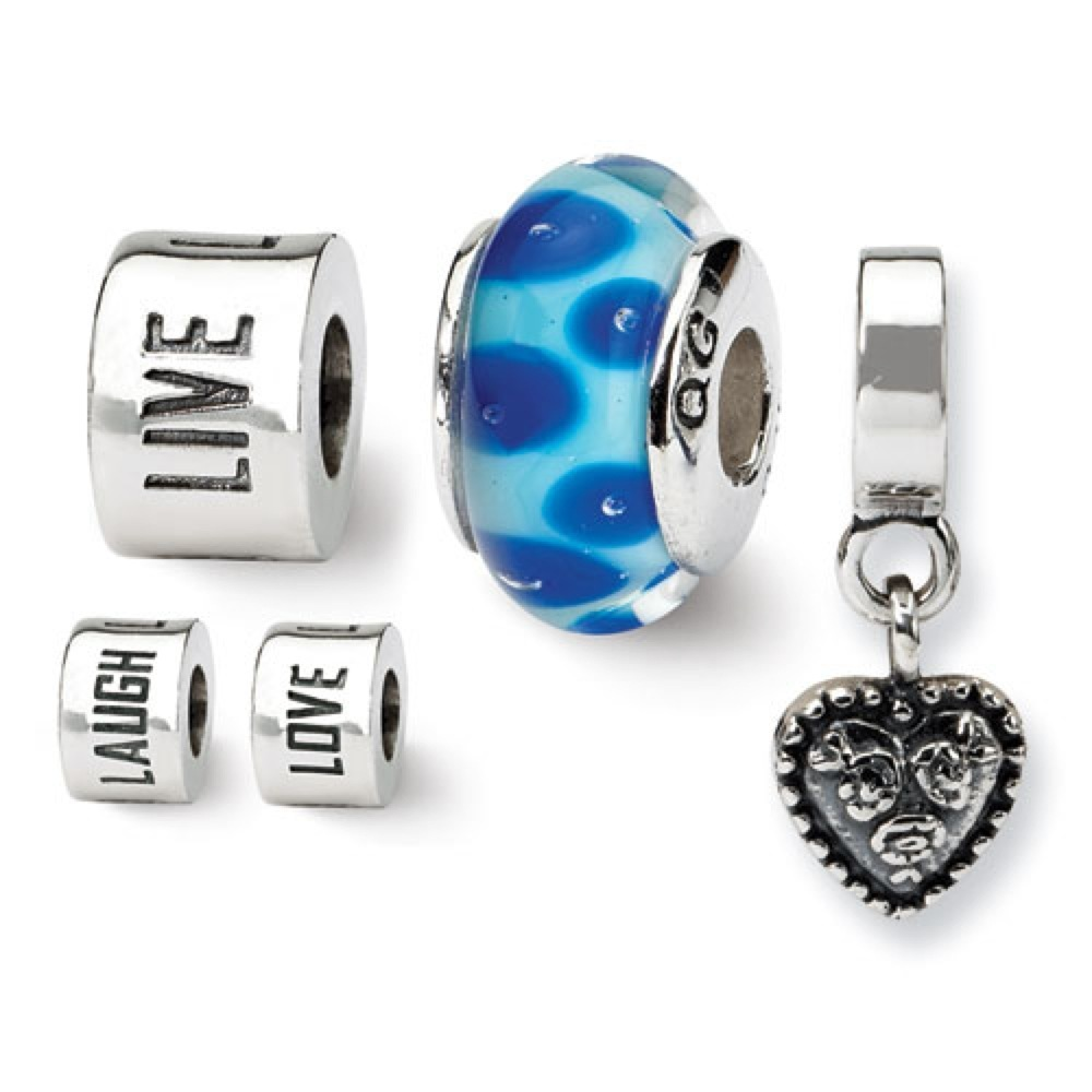 West Coast Jewelry Sterling Silver Reflections Live, Love, Laugh Boxed Bead Set at Sears.com